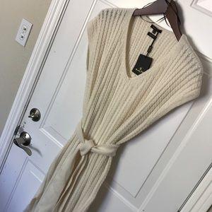Massimo Dutti Long Cream Cable Knit Sweater Dress